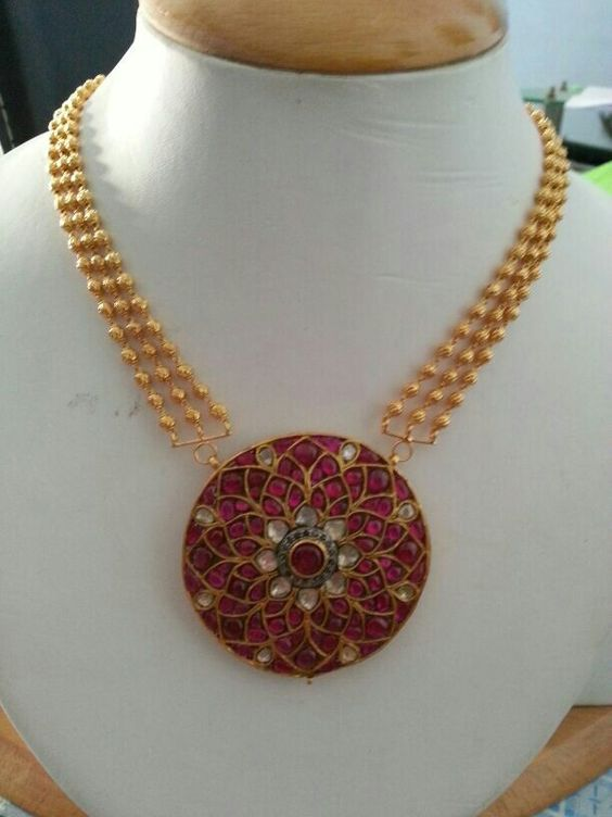 3 layers gold beads necklace with ruby pendant 3 layers gold beads necklace with ruby pendant aloadofball Choice Image
