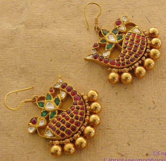 fish shaped ruby earrings from mehta jewellers