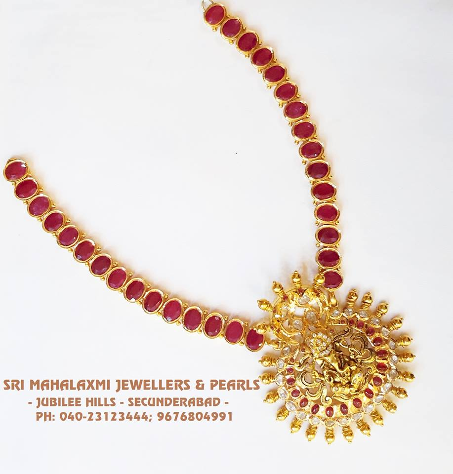 a6fb5e1c85297 Royal Ruby and Ganesh Pendant Set From SriMahalakshmi Jewellers