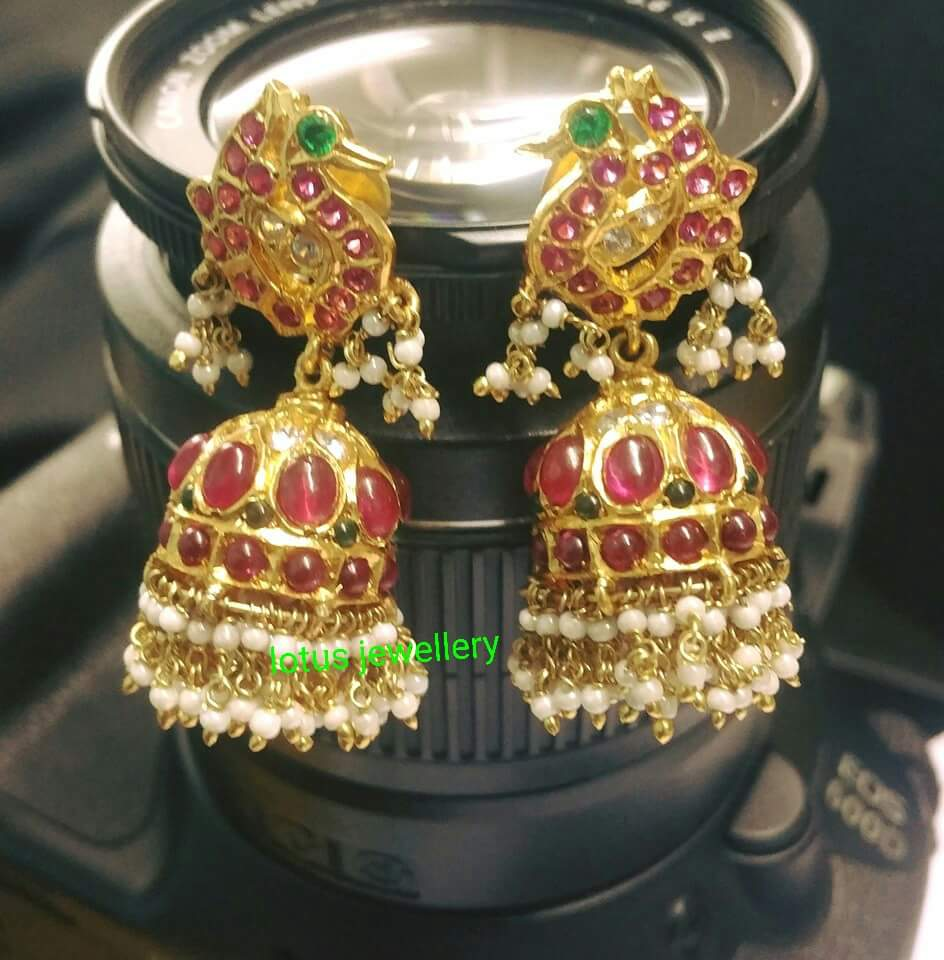 Gold Coated Silver Ruby Jhumkas from Gold Lotus Jewellery