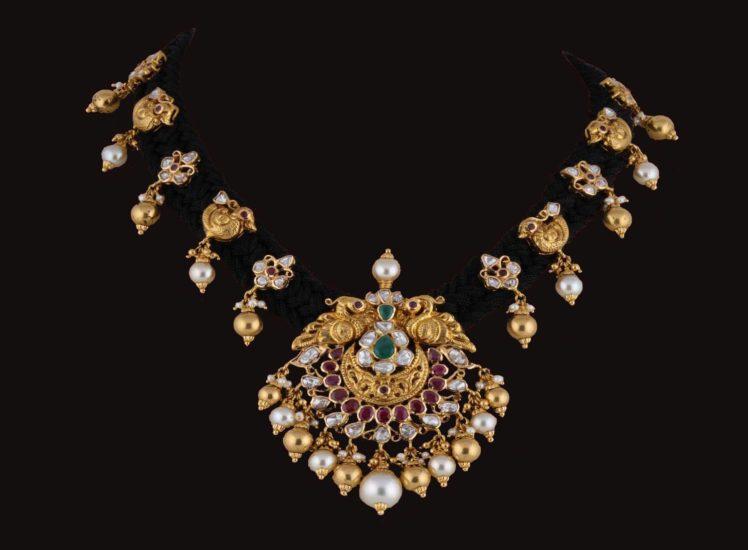 black thread necklace set from srj fine jewelry