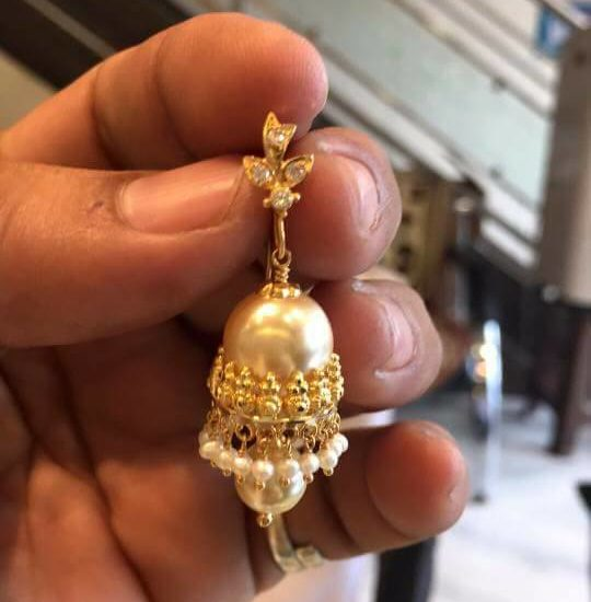 5 grams Light Weight Pearl Earrings from Bhavani Jewellers