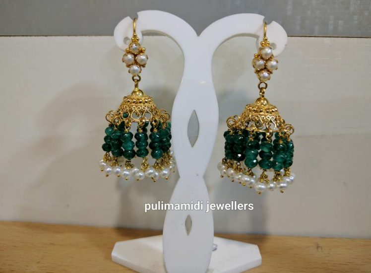 light weight jades and pearl jhumkas from pulimamidi jewellers