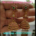 Antique Ruby Jhumkis with gold ball hangings