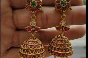 antique ruby jhumkis