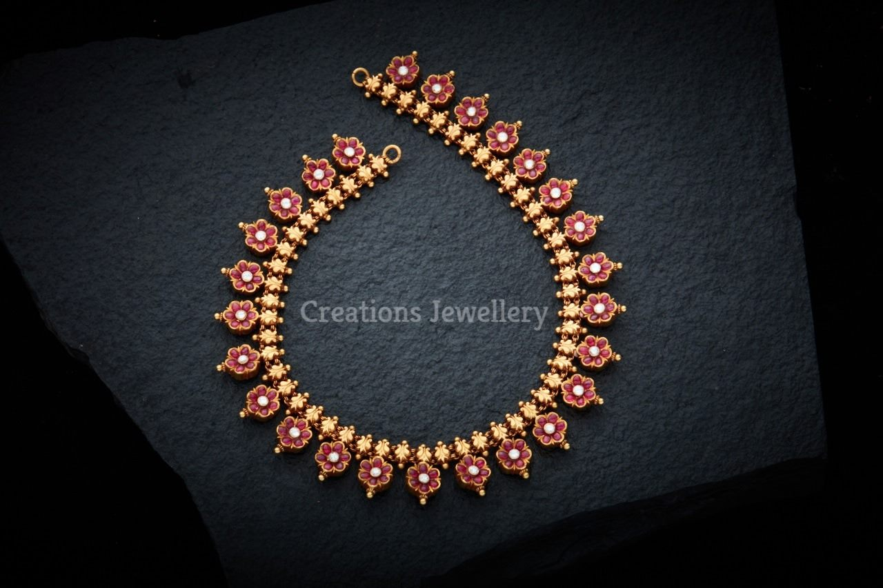nakshi jewellery gold necklace pendant ruby antique latest kasu with