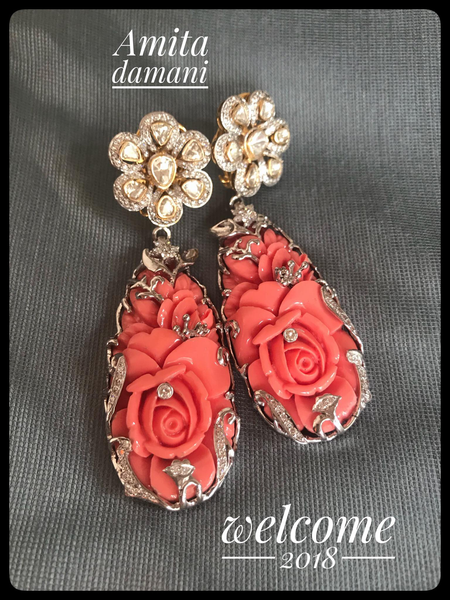 coral earrings from amita damani design