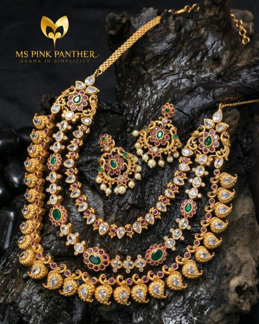 gold panther necklace o from pink plated gemstone silver ms