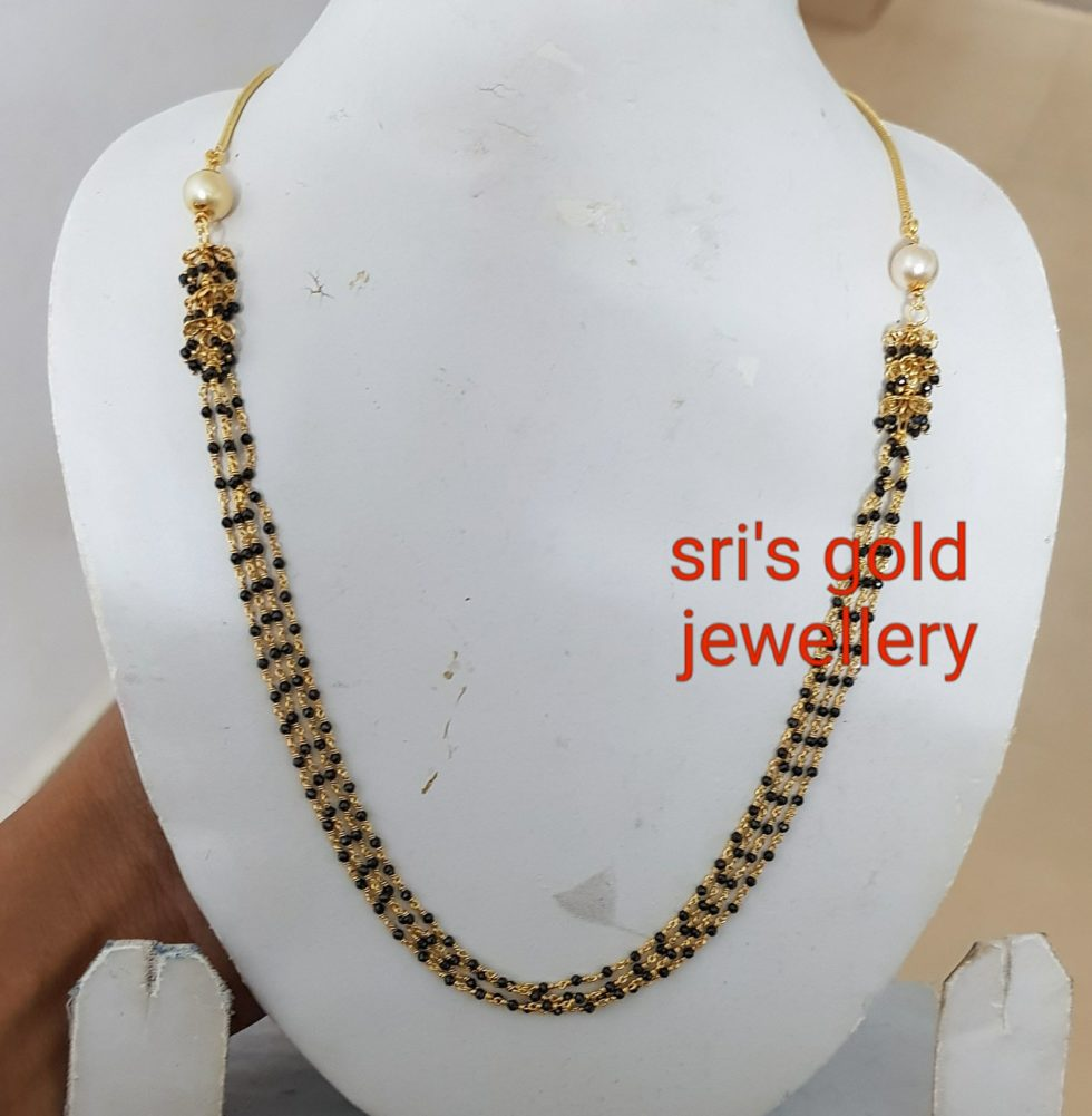 light weight gold black beads mangalsutras