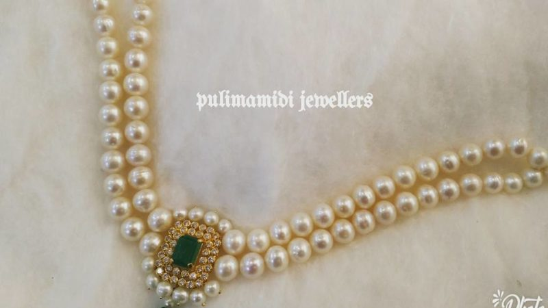 54bfaa456e6f3b 6 Grams Light Weight Pearl Necklace from Pulimamidi Jewellers