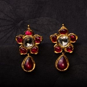 Kids Earrings studded with rubies and uncuts, handcrafted in 22k gold