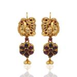 NAC Jewellers Antique Peacock Ruby Earrings
