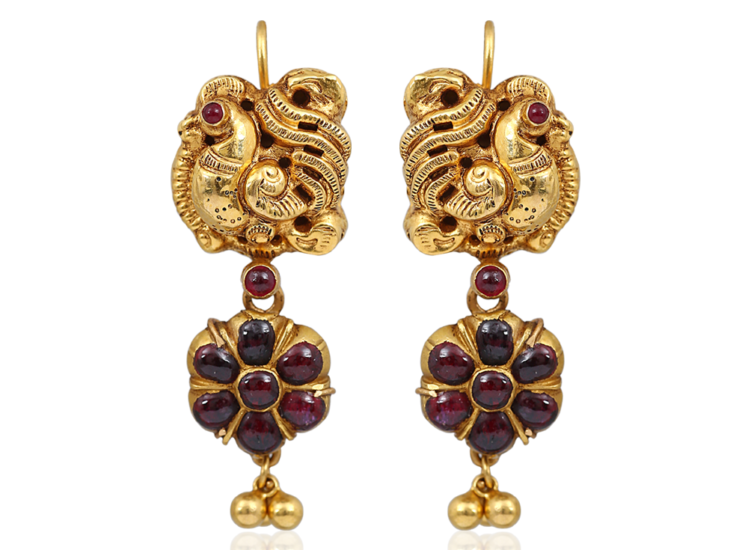 Antique Peacock Ruby Earrings NAC Jewellers