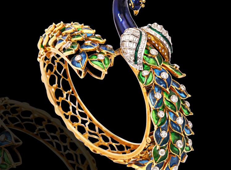 enamelled diamond peacock bracelet