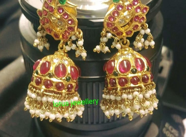 silver ruby jhumkas from gold lotus jewellery