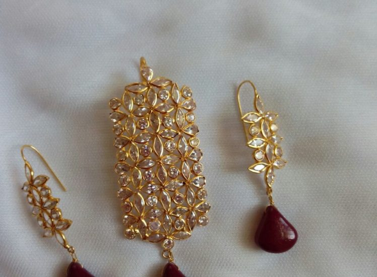 Light Weight Pendant Set with CZs and Ruby Drops