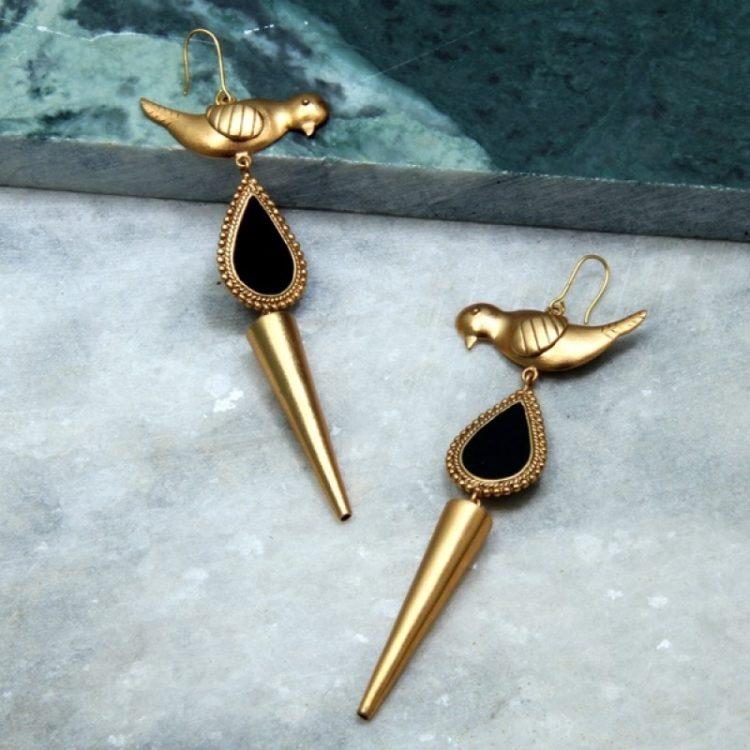 gold bird drop earrings from suhani pittie