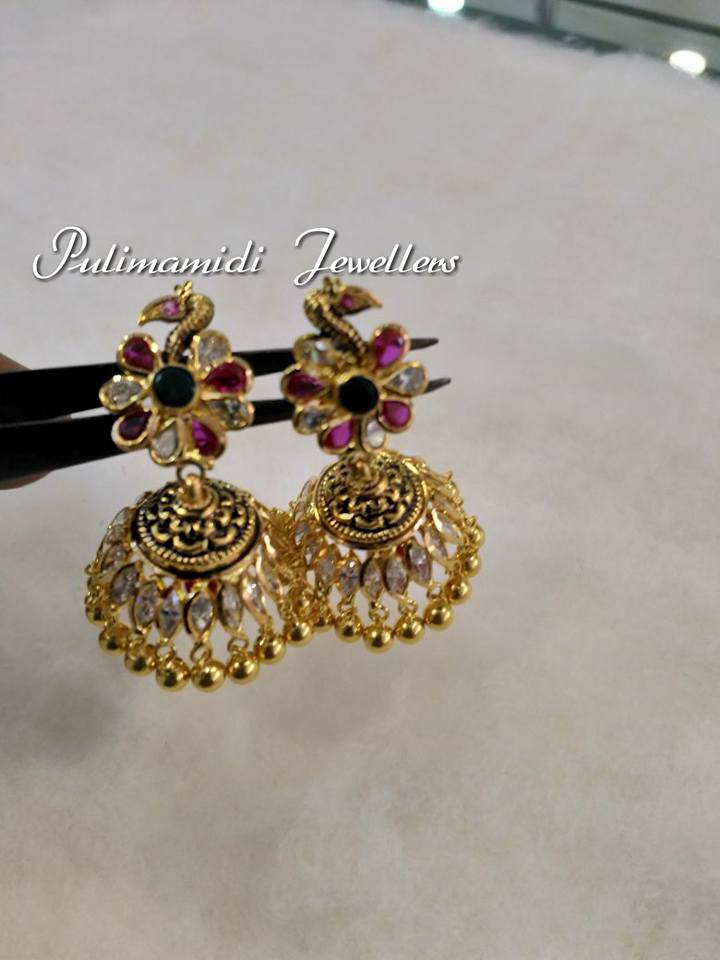light weight gold jhumkas from pulimamidi jewellers