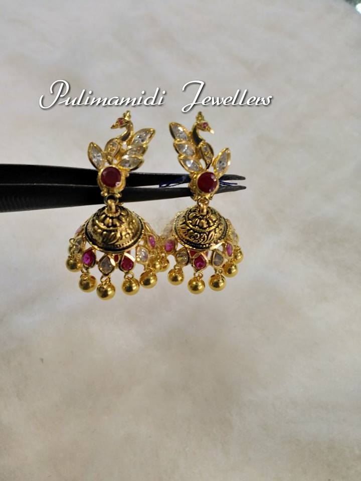 light weight gold jhumkas from pulimamidi jewellers 1