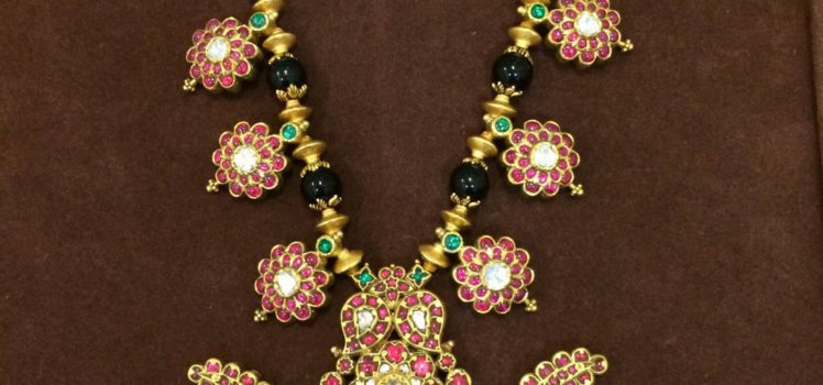Black Beads Ruby Pendants Necklace from Mira Diamonds