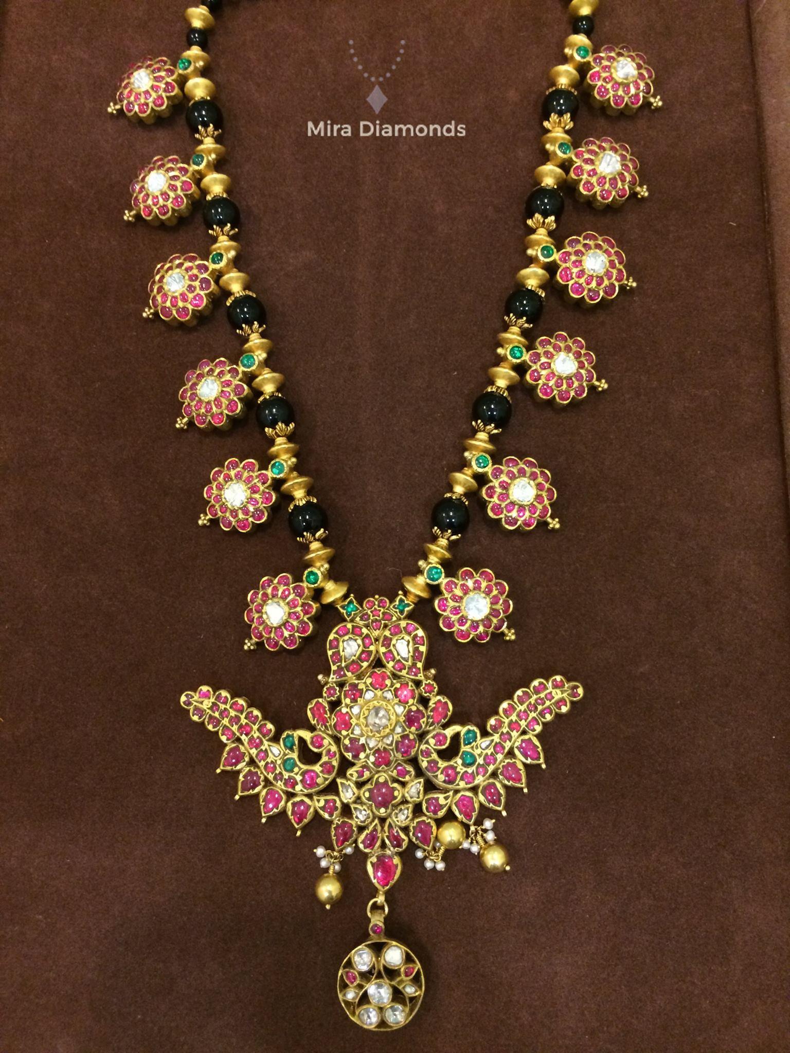 Black Beads Ruby Pendants Necklace from Mira Diamonds