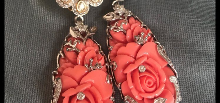 uncut and coral earrings from amita damani design